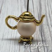 """Рамка для бусины 10 мм """"Чайник"""", цв. золото (1 шт.)"""