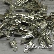 Концевики для шнуров зажимные 3х8 мм, цв. никель (1 гр.)