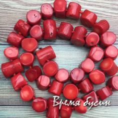 Коралл натуральный, бусины пенечки, цв. красный (нить, ок. 38 шт.)