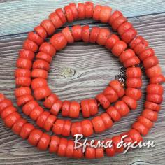 Коралл натуральный, бусины рондели, цв. оранжевый (нить, ок. 90 шт.)