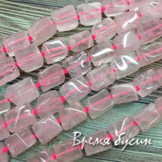 Розовый кварц, бусины прямоугольные, ок. 10х14 мм (1/2 нити, 15  шт.)