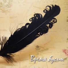 Перо гусиное кудрявое, длина 15-20 см, цвет черный (1 шт.)