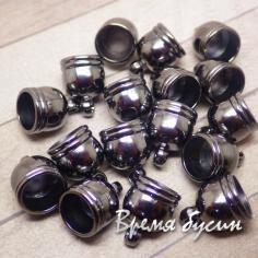 Колпачок-концевик для шнура акриловый, цв. черный  9х13 мм (1 шт.)