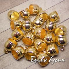 Колпачок-концевик для шнура акриловый, цв. золото 10х14 мм (1 шт.)