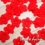 Цветочки акриловые,  5х18 мм, цв. красный (10 шт.)