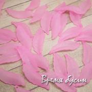 Бусины листики акриловые,  10х29 мм, цв. розовый (10 шт.)