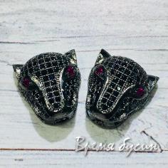 Бусина «Ягуар» с цветными фианитами, латунь с черным родиевым покрытием (1 шт.)