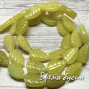Жадеит. Резные бусины - листики, 8х12 мм (1 шт.)