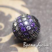 Бусина шарик 10 мм с цветными фианитами, латунь с черным родиевым покрытием (1 шт.)