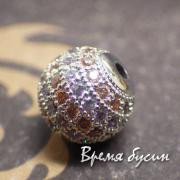 Бусина шарик 10 мм с родиевым покрытием и цветными фианитами