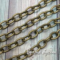 Цепочка металлическая, звено 7х10 мм гладкое, цвет бронза (10 см.)