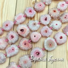 Бусины из друзы агата «Хризантемы», цв.розовый (1/2 нити, 14 шт.)
