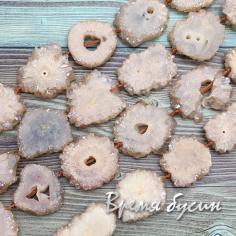 Бусины из друзы агата «Хризантемы», цв.персиковый (1/2 нити, 7 шт.)