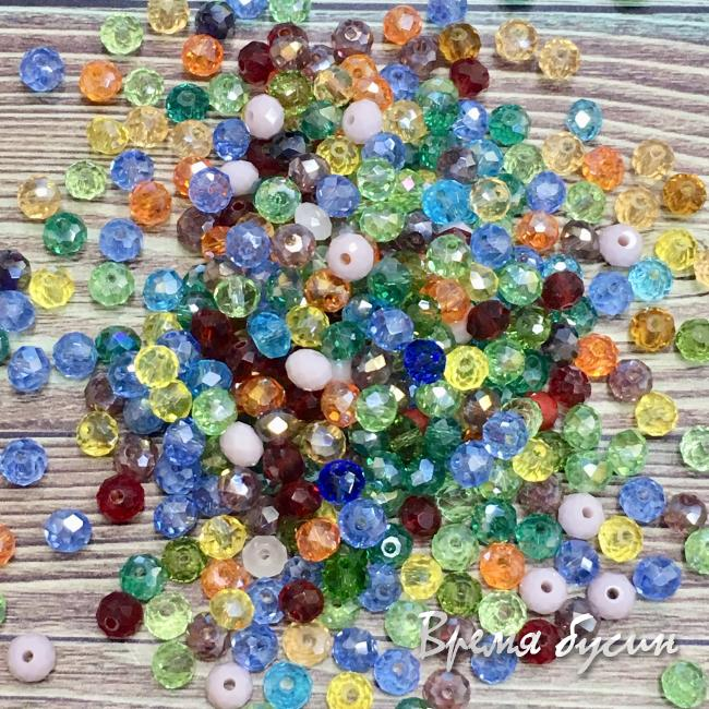 Бусина рондель из граненого стекла 4 мм, цв. МИКС (5 гр.)