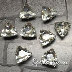 Стразы из стекла в цапах под серебро. Треугольник 10 мм, цв. Crystal  (1 шт.)
