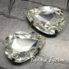 Стразы из стекла в цапах под серебро. Капля 18х25 мм, цв. Crystal   (1 шт.)