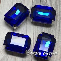 Стразы из стекла в цапах под серебро. Прямоугольник 10х14 мм DARK BLUE (1 шт.)