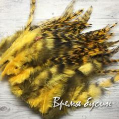 Перо петуха пестрое, цв. желтый, длина 10-15 см (1 шт.)
