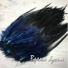 Перо петуха, цвет темно-синий, длина 10-15 см (1 шт.)