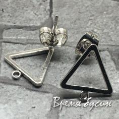 Швензы-гвоздики из латуни с родиевым покрытием (1 пара)