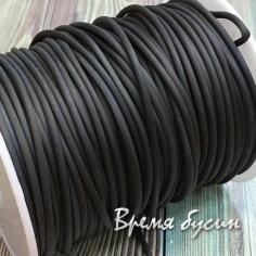 Шнур резиновый полый, чёрный, 2х0.5 мм (1 м.)