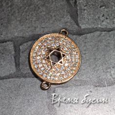 """Коннектор """"Медальон со звездой"""" с фианитами, латунь с розовой позолотой (1 шт.)"""