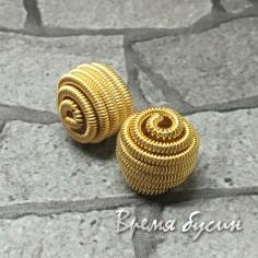 """Бусина """"Пружинка"""", 10 мм, латунь с позолотой  (1 шт.)"""