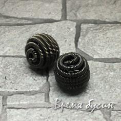"""Бусина """"Пружинка"""", 10 мм, латунь с черным родиевым покрытием (1 шт.)"""