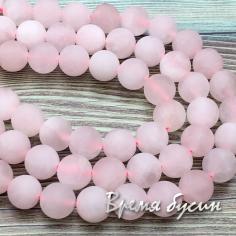 Розовый кварц. Матовый шарик 10 мм (1/2 нити, 19 шт.)