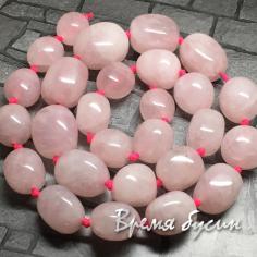 Розовый кварц. Галтовка округлая с градуировкой размера (1/2 нити, 13 шт.)
