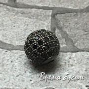 Бусина шарик 10мм с черными фианитами, латунь счерным  родиевым покрытием (1 шт.)