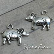 Свинка. Подвеска металлическая цв. серебро (1 шт.)