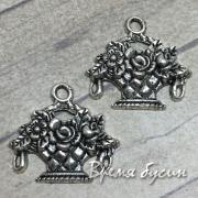 Корзина с цветами. Подвеска металлическая цв. серебро (1 шт.)