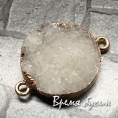Коннектор круглый из друзы агата, цв. в металле под золото (1 шт.)