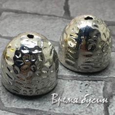 Концевики для серег-кисточек, 14 мм,  латунь с родиевым покрытием (2 шт.)