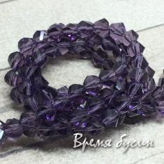 Бусины из стекла, граненые 4 мм, цв.фиолетовый (20 шт.)