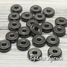 Разделители для бусин, 1х6 мм, латунь с черным родиевым покрытием (1 шт.)