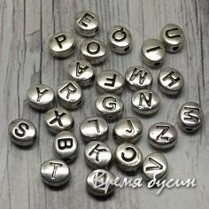 Бусины металлические с буквами, овальные 5х6 мм (1 шт.)