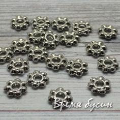 Разделители для бусин, 1х6 мм, латунь с родиевым покрытием (1 шт.)