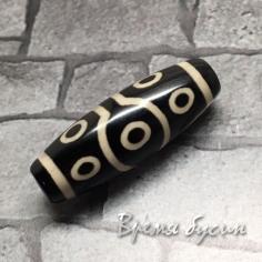 "Бусина Дзи из агата ""10 глаз"", 30х10 мм (1 шт.)"