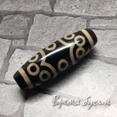 "Бусина Дзи из агата ""13 глаз"", 30х10 мм (1 шт.)"