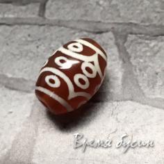 Мини-бусины Дзи из сердолика,  10х14 мм (1 шт.)