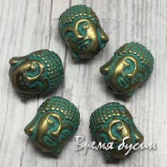 Будда. Бусина металлическая, цв. бронза с патиной 11х8 мм (1 шт.)