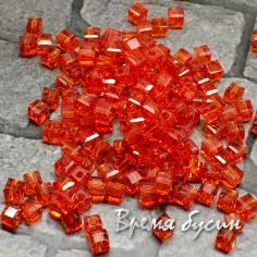 Бусины кубики из граненого стекла, 2х2 мм, цв. алый   (50 шт.)