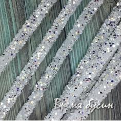 Шнур резиновый полый с блестками, 7х2 мм (0,5 м.)