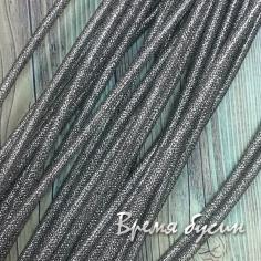 Шнур резиновый полый с оплеткой металлической сеткой, 4х2 мм (0,5 м.)