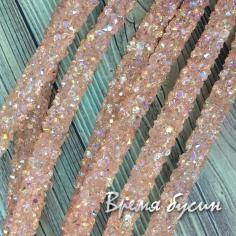 Шнур резиновый полый с кристалликами, 7х2 мм (0,5 м.)