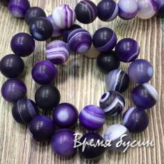 Агат матовый, шарик гладкий 10 мм., цв. фиолетовый (нить, ок. 38 шт.)