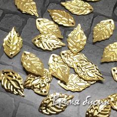 Элемент из филиграни, листики 10х18 мм, цв. золото (5 шт.)