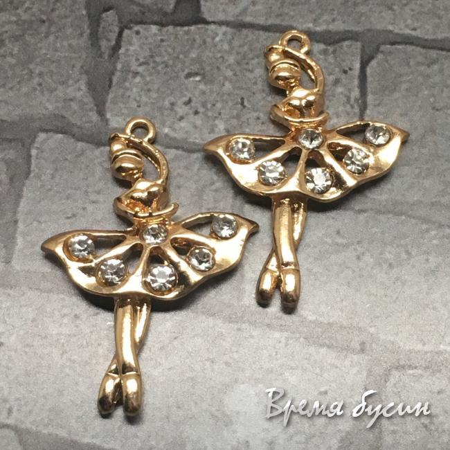 Балерина. Подвеска со стразами, цв. розовое золото (1 шт.)